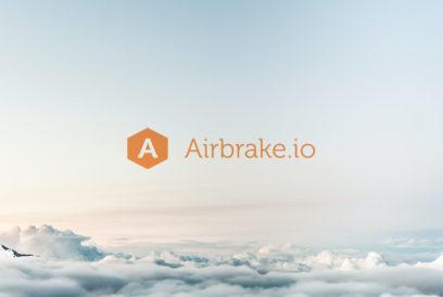 Airbrake.io logo against a cloudy sky