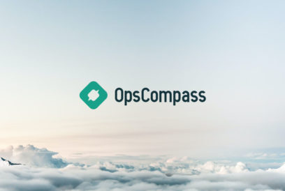 OpsCompass logo against a cloudy sky